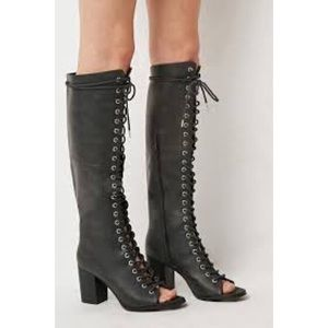Shoes - Black over the knee lace up open toe boot